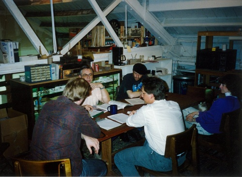 Great minds meeting: Scott David Aniolowski, Lynn Willis, Kevin A Ross, Keith Herber & Sharon Herber at Chaosium, 1990.