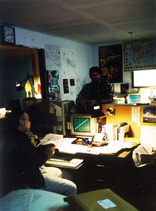 Lynn and Keith at their desks in the comforting gloom of Chaosium, Oakland 1990.