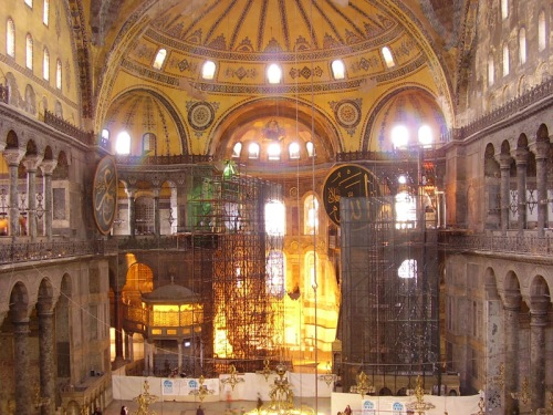Interior of Aya Sofia, Istanbul [Source: Europe 2010]