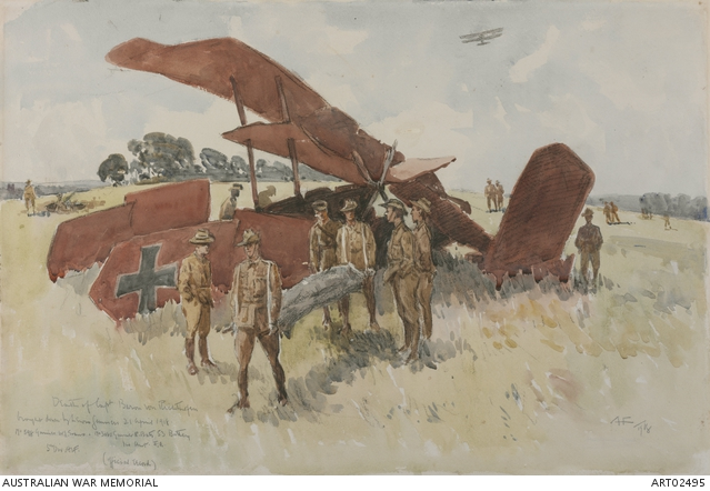 Death of Baron von Richthofen, by A. Henry Fullwood. Source: Australian War Memorial.