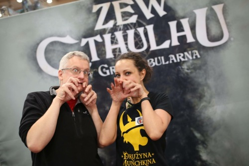 Daria Pilarcyk and Mark practice their Cthulhu faces
